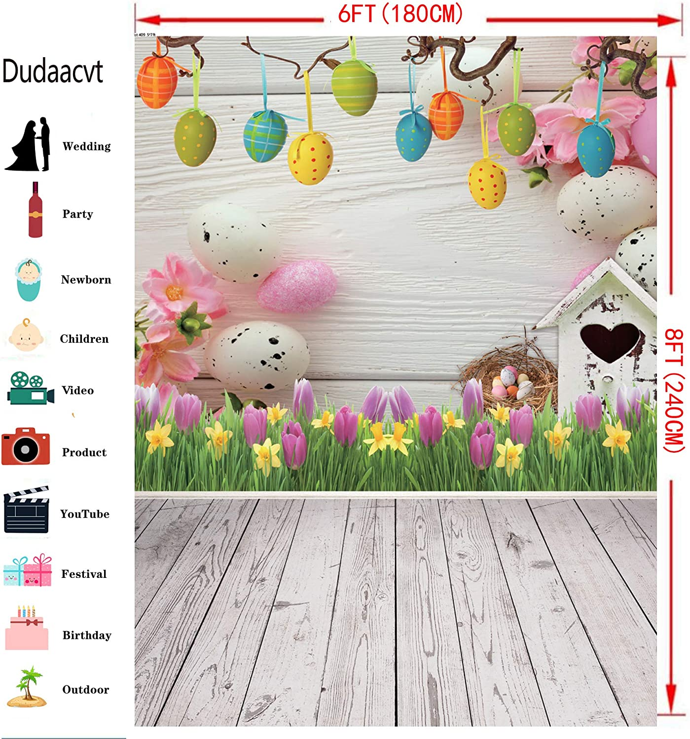 LB 10x8ft Spring Easter Backdrop Vinyl Colorful Eggs White Flower Green Grass Backdrops for Photography Kids Baby Shower Birthday Party Portrait Photo Booth Studio Props