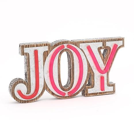 Amazon.com: Con luz LED tablero de madera Joy – Señal de pie ...