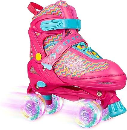 Adjustable Roller Skates for Kids 2 Size Girls Boys Indoor Outdoor Skates with Wheels Light Up Fun Illuminating for Girls