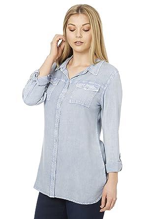 c3a4e4db6 Roman Originals Women's Light Denim Shirt - Ladies Jean Boyfriend Shirts  Buttondown Longline Soft Blouse Plus