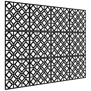 Kernorv Hanging Room Divider Decorative Screen Panels Made of PVC Room Divider Panels for Living Room Bedroom Office Restaurant (Black, 12 PCS)