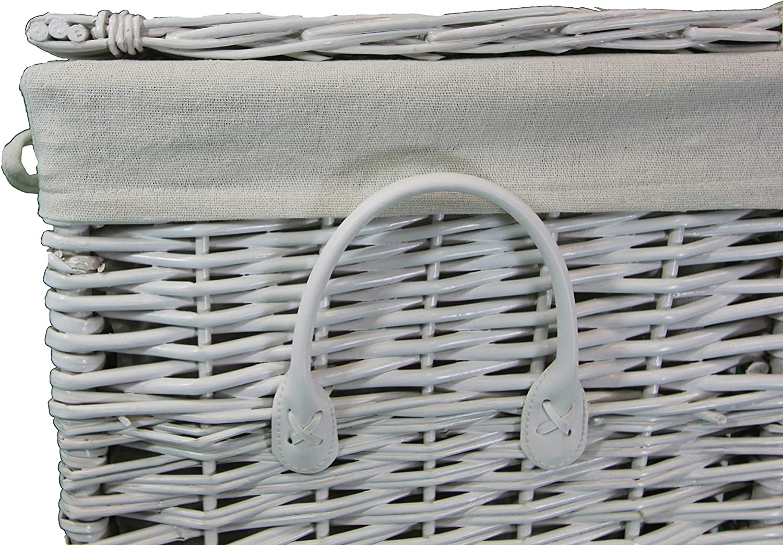 60 ltr marron et blanc Panier doubl/é coton Saule entier avec couvercle Pop-it-in-a-pelican Panier de rangement carr/é en osier Gris Panier /à linge et v/êtements. Rotin//osier blanc