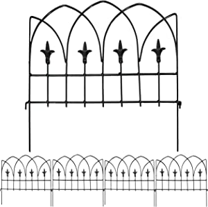 Sunnydaze 5-Piece Bayonne Border Fence Set - Decorative Metal Garden and Landscape Fencing - 19-Inch Wide x 19-Inch Tall Each - 8-Foot Overall Length - Black