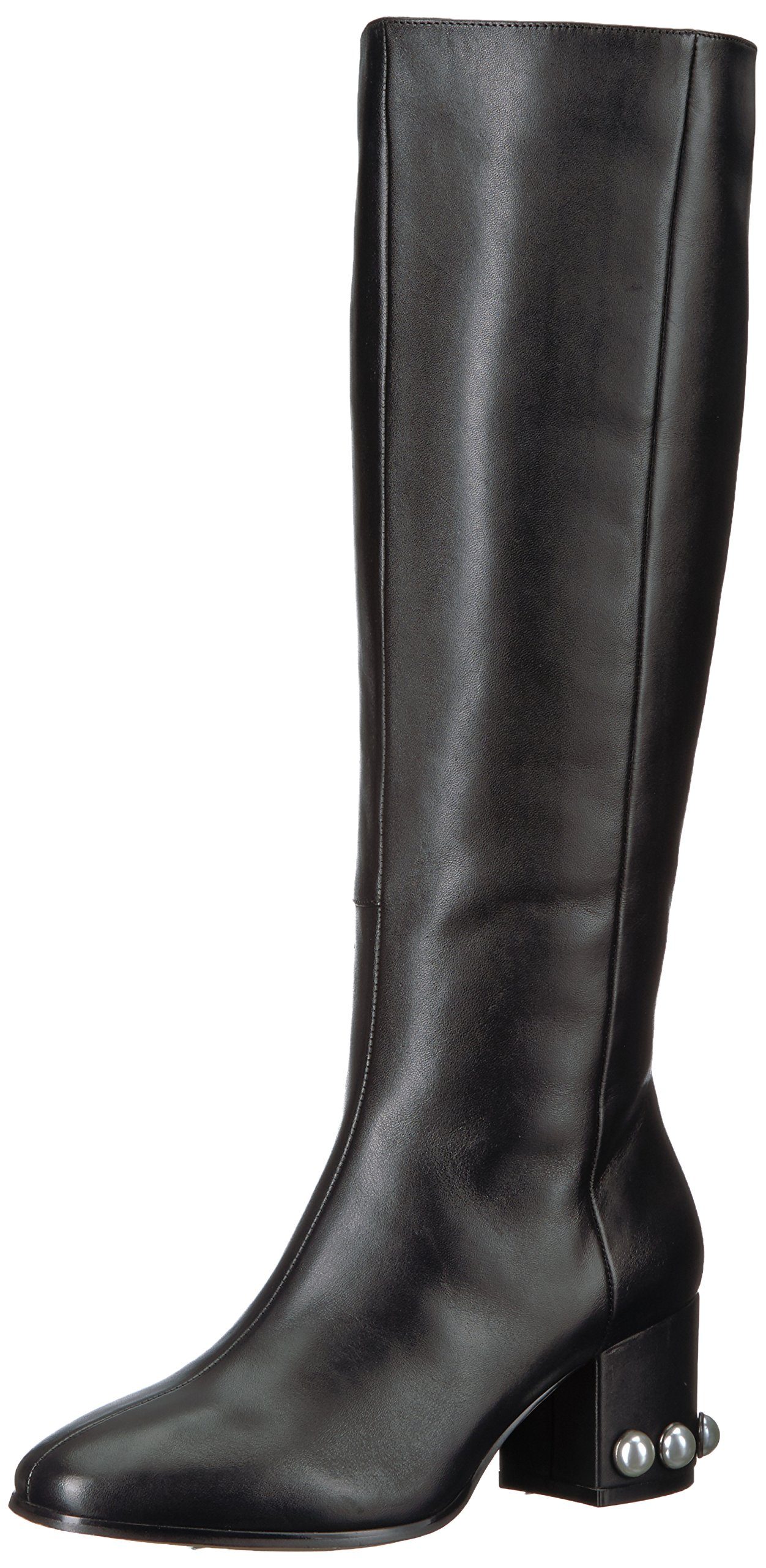 Amazon Brand - The Fix Women's Juliette Pearl Studded-Heel Knee High Boot, Black Leather, 7 B US by The Fix