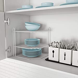 Lavish Home 83-94 Two-Tiered Corner Shelf – Powder Coated Iron Space Saving Storage Organizer for Kitchen, Bathroom, Office or Laundry Room