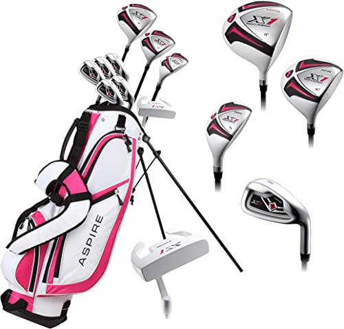 Aspire X1 Ladies Womens Complete Right Handed Golf Clubs Set Includes Titanium Driver, S.S. Fairway, S.S. Hybrid, S.S. 6-PW Irons, Putter, Stand Bag, 3 H C s Cherry Pink