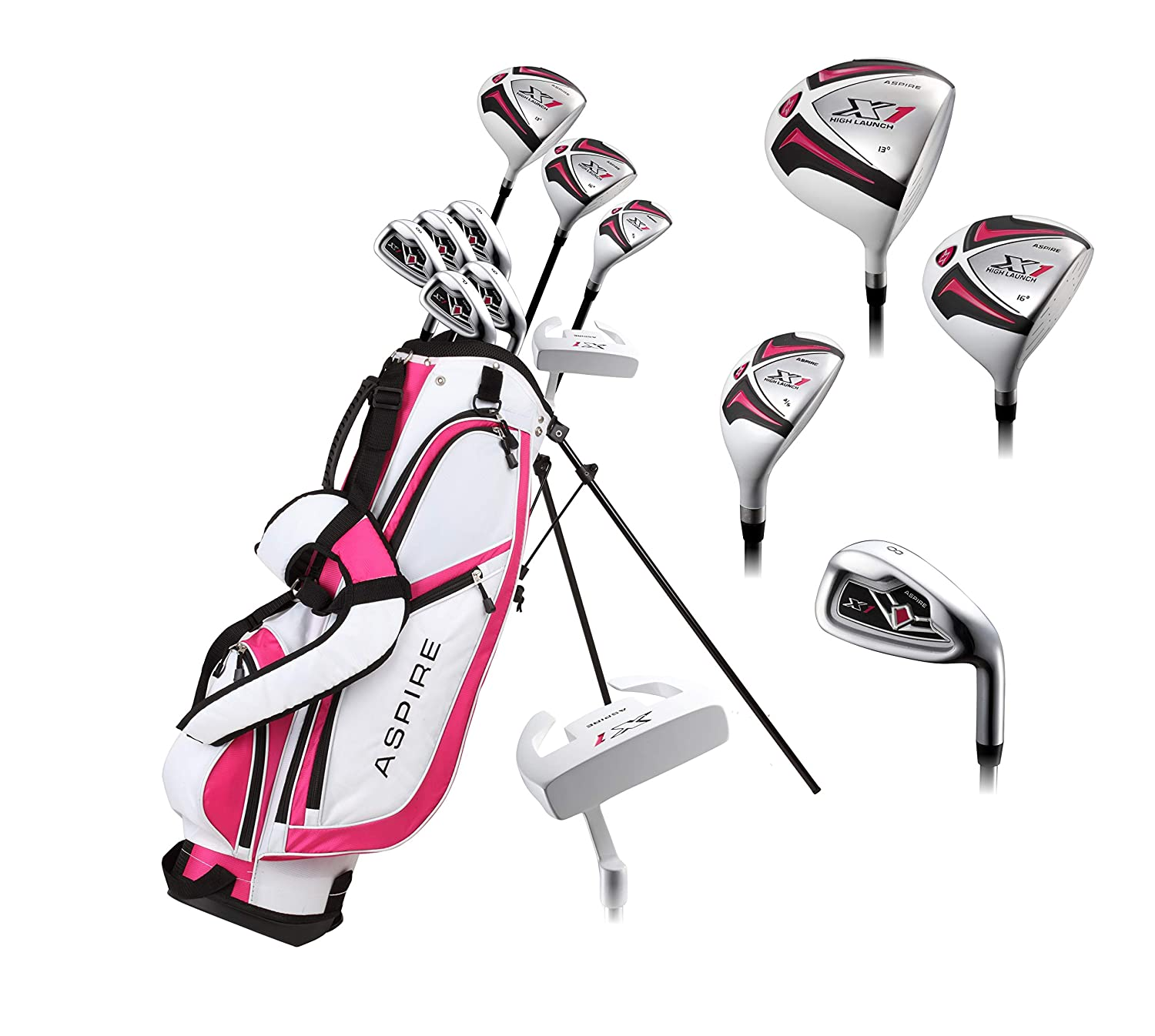 Aspire X1 Ladies Womens Complete Right Handed Golf Clubs Set Includes Driver, Fairway, Hybrid, 6-PW Irons, Putter, Stand Bag, 3 H C s Cherry Pink Petite Size for Ladies 5 3 and Below