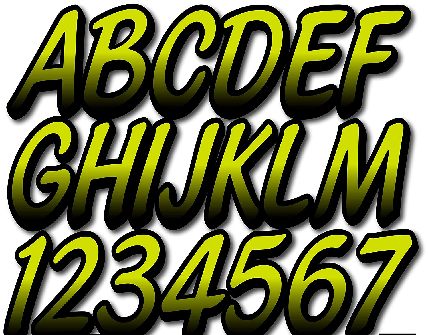 Stiffie Whipline Electric Lime//Black 3 Alpha-Numeric Registration Identification Numbers Stickers Decals for Boats /& Personal Watercraft