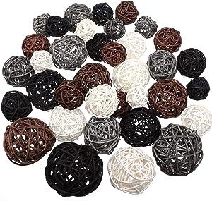 36 Pieces Wicker Rattan Balls Decorative Orbs Vase Fillers for Craft, Party, Wedding Decoration, Aromatherapy Accessories, Garden Decoration, 4 Sizes (White, Dark Gray, Brown, Black)