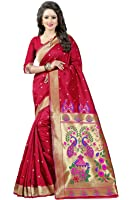 Shree Sanskruti Women's Tussar Silk Saree With Blouse Piece (Paithani 4 Red_Red)