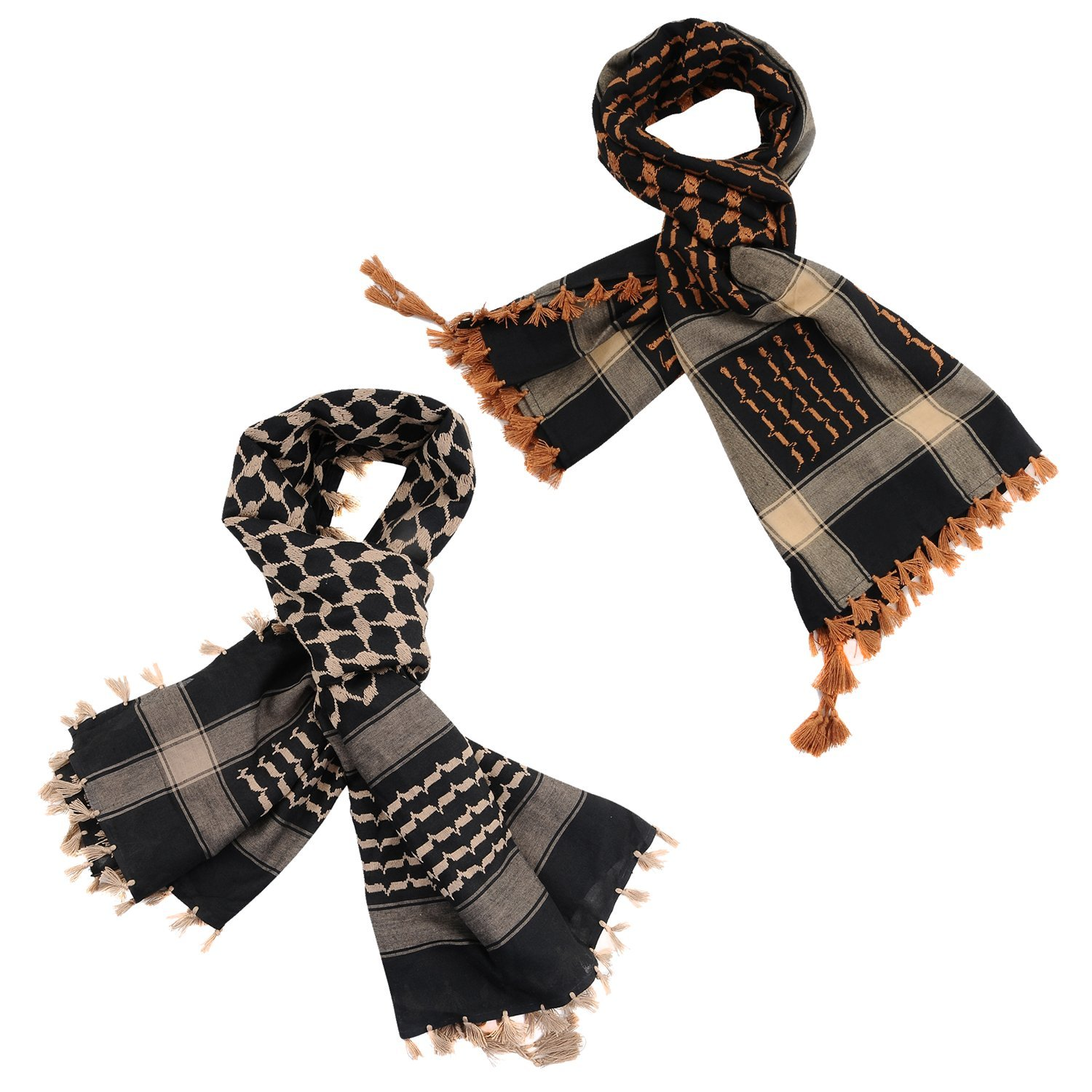 Micoop Large Size Premium Shemagh Scarf Arab Military Tactical Desert Scarf Wrap with Fine Tassels, 2-Pack (Black Light Brown & Black Brown)