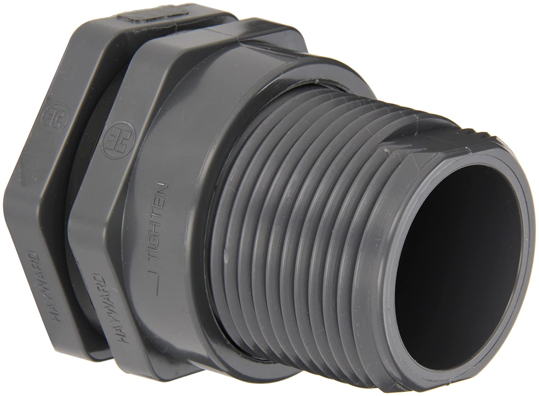 "Hayward BFA1015SES Series BFA Standard Flange Bulkhead Fitting, Socket x Socket End, PVC with EPDM Seals, 1-1/2"" Size"