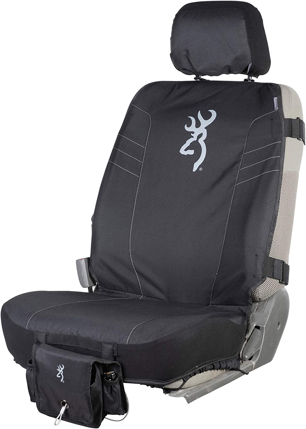 Browning Low Back Tactical Seat Cover Black w//White Buckmark Single