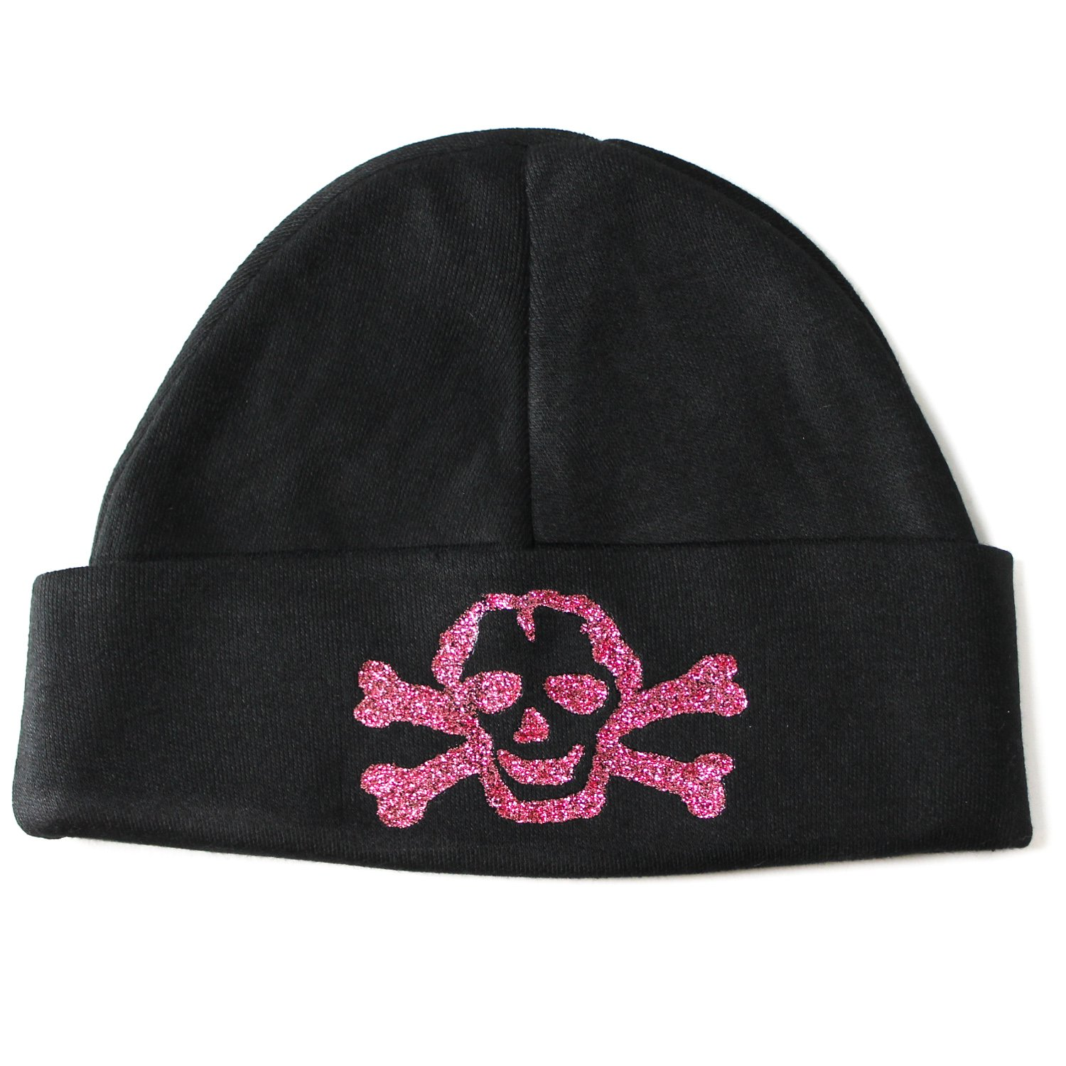 Crazy Baby Clothing Pink Glitter Scribble Skull Baby Beanie One Size in Black C8200048BK