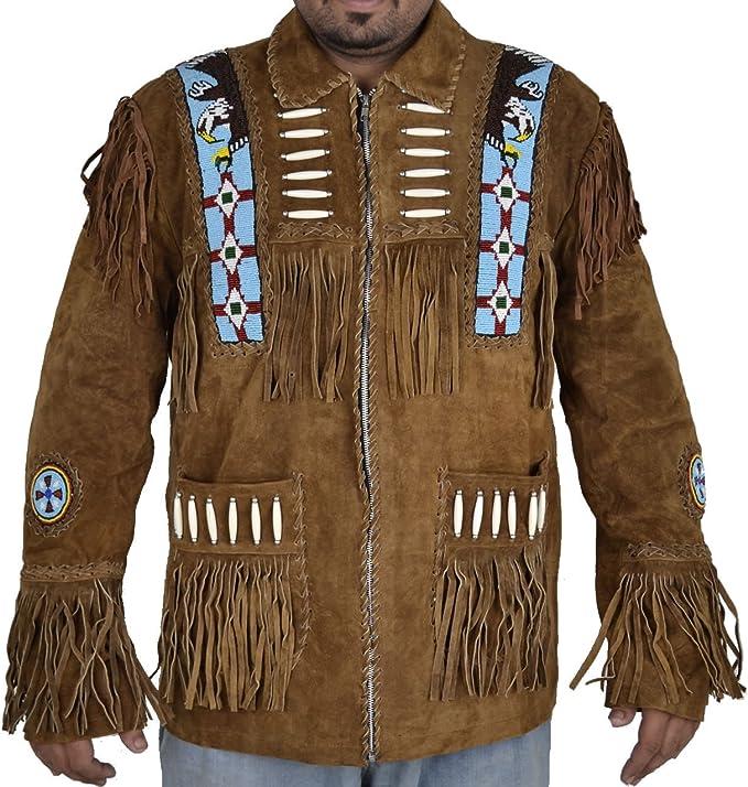 Classyak Herren Western Cowboy Wildleder Jacke Braun: Amazon