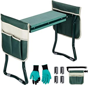 Garden Kneeler and Seat, Lalafancy Foldable Garden Stools Portable Garden Kneeler Seat Bench Stools with 2 Tool Pouches EVA Foam Pad for Outdoor Gardening