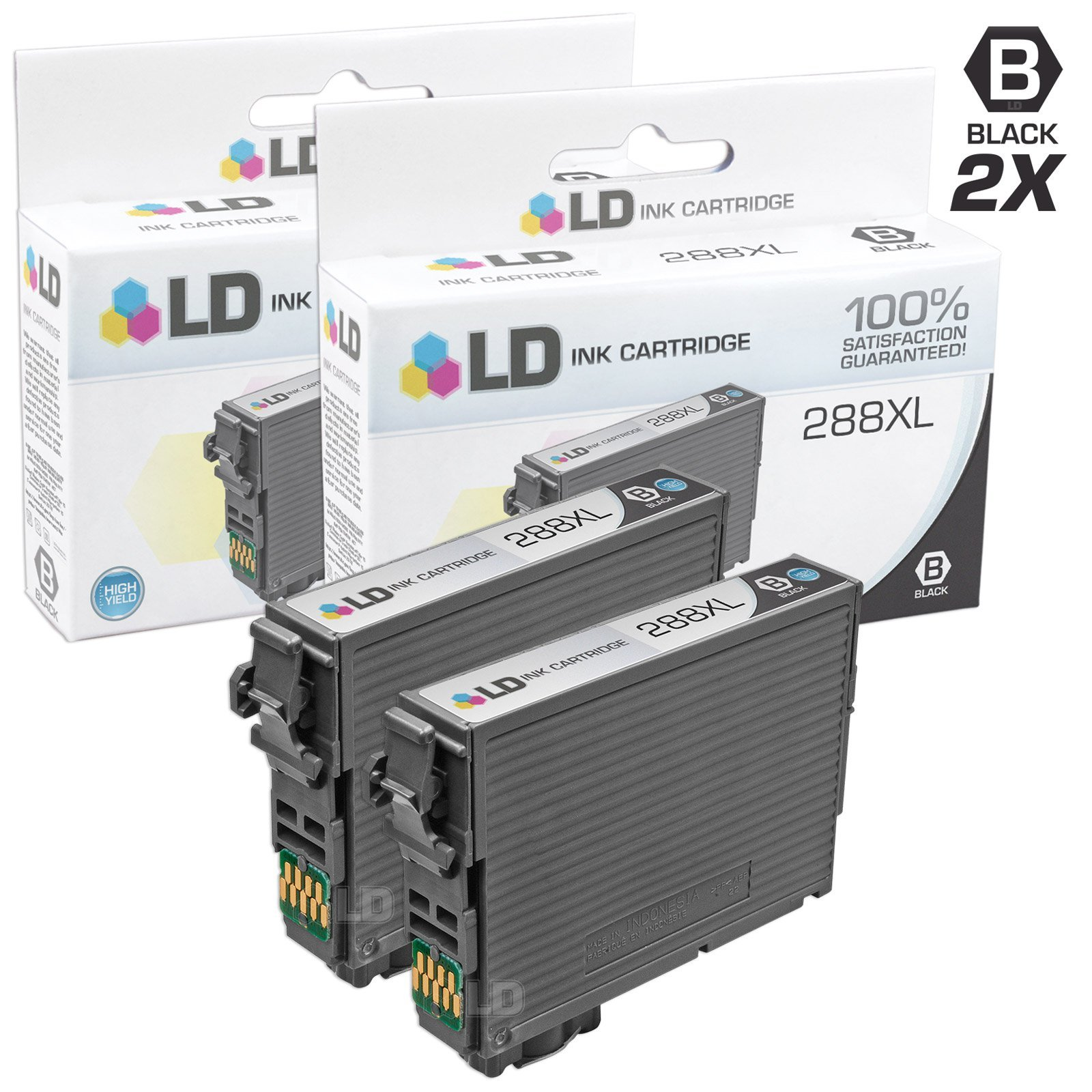 LD Remanufactured Ink Cartridge Replacements for Epson 288XL High Yield (Black, 2-Pack)
