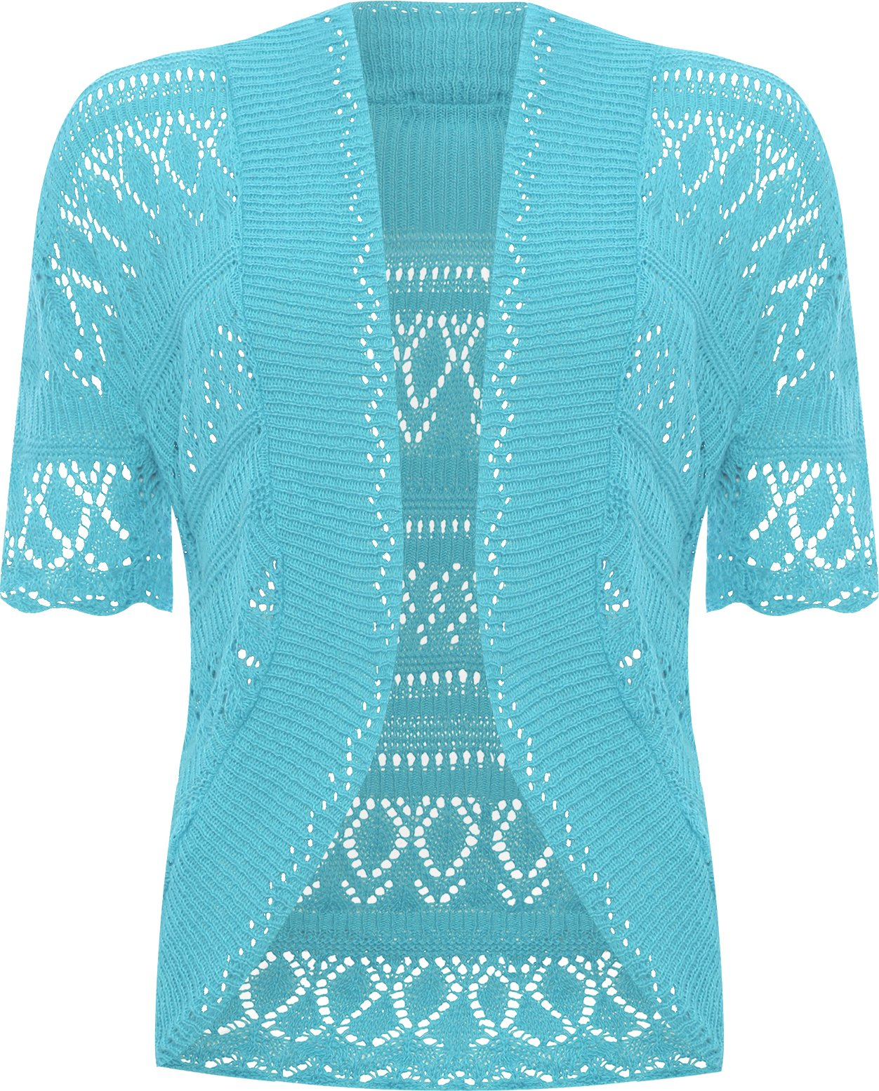 WearAll Women's Plus Size Crochet Knitted Short Sleeve Cardigan - Turquoise - US 12-14 (UK 16-18)