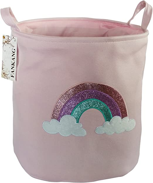 FANKANG Large Sized Gift Baskets Cute Rainbow Pattern Design Laundry Hamper Cotton Fabric Cylindric Storage Bin with Rope Handles Pink Rainbow Decorative and Convenient for Kids Bedroom