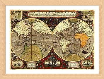 Amazon alonline art antique old vintage v2 world map beech alonline art antique old vintage v2 world map beech framed poster print on 100 gumiabroncs Choice Image