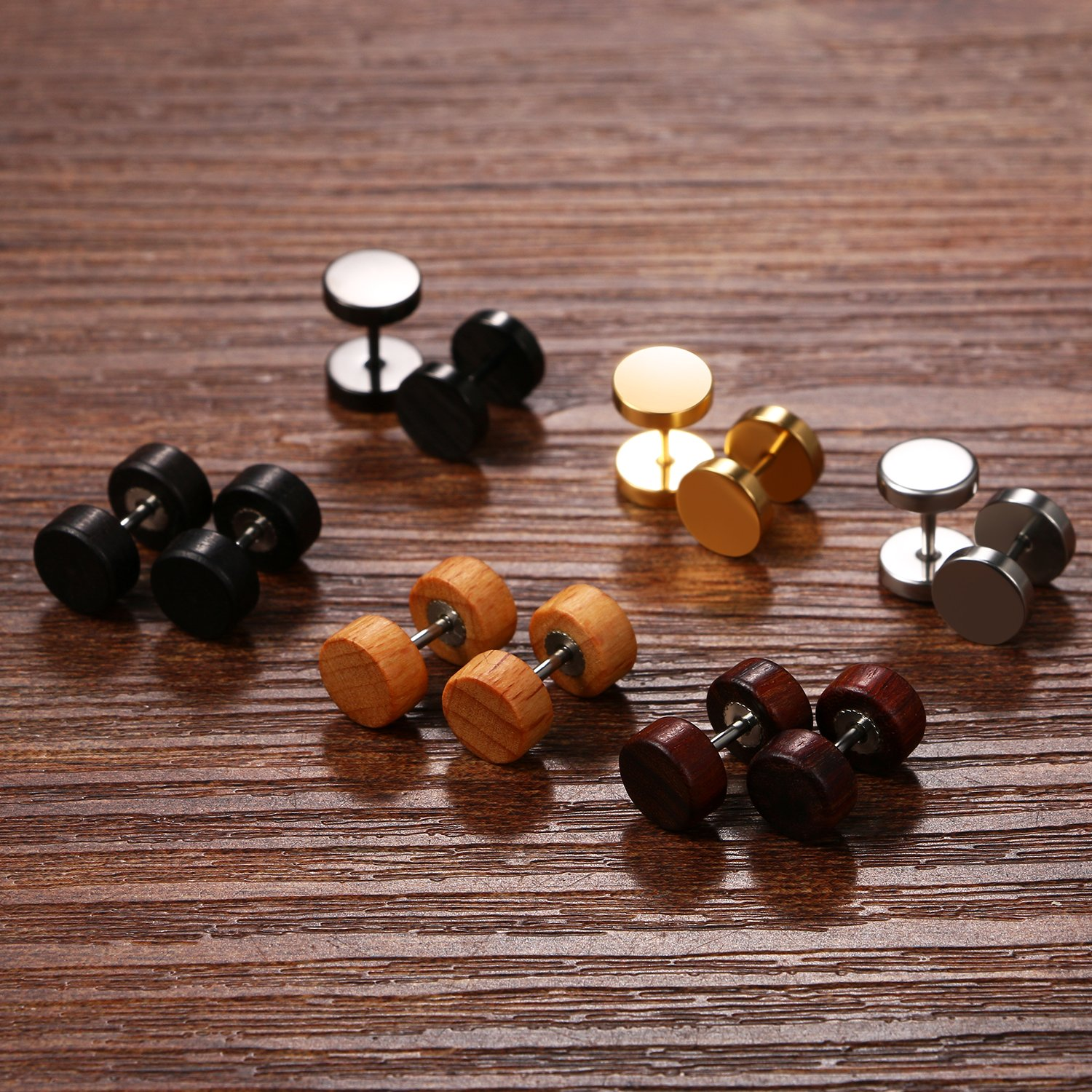 6 Pairs 8MM Mens Stainless Steel Wood Screw Stud Earrings Set,Cupimatch Ear Piercing Plugs Tunnel Earrings CU-MI-142-CA