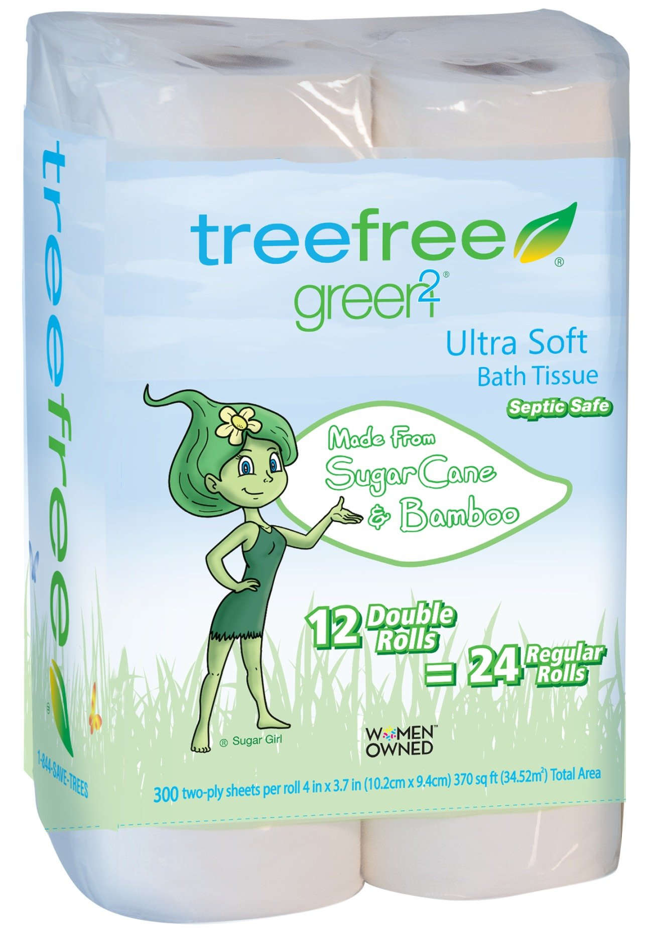 Green2 100% Tree Free 300-Sheet 2-Ply Bathroom Tissue, 12 Count (Pack of 8) by Green2
