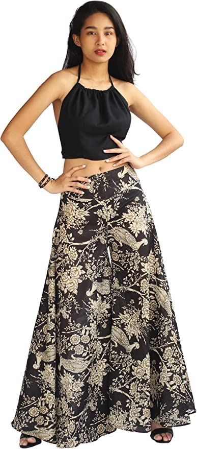 Fantastic Black Ivy Palazzo Wide Leg Pants Strenchy Elastic Waist Beach Women Casual Hippie Bohemian Ordinary day Pants One Size fit most