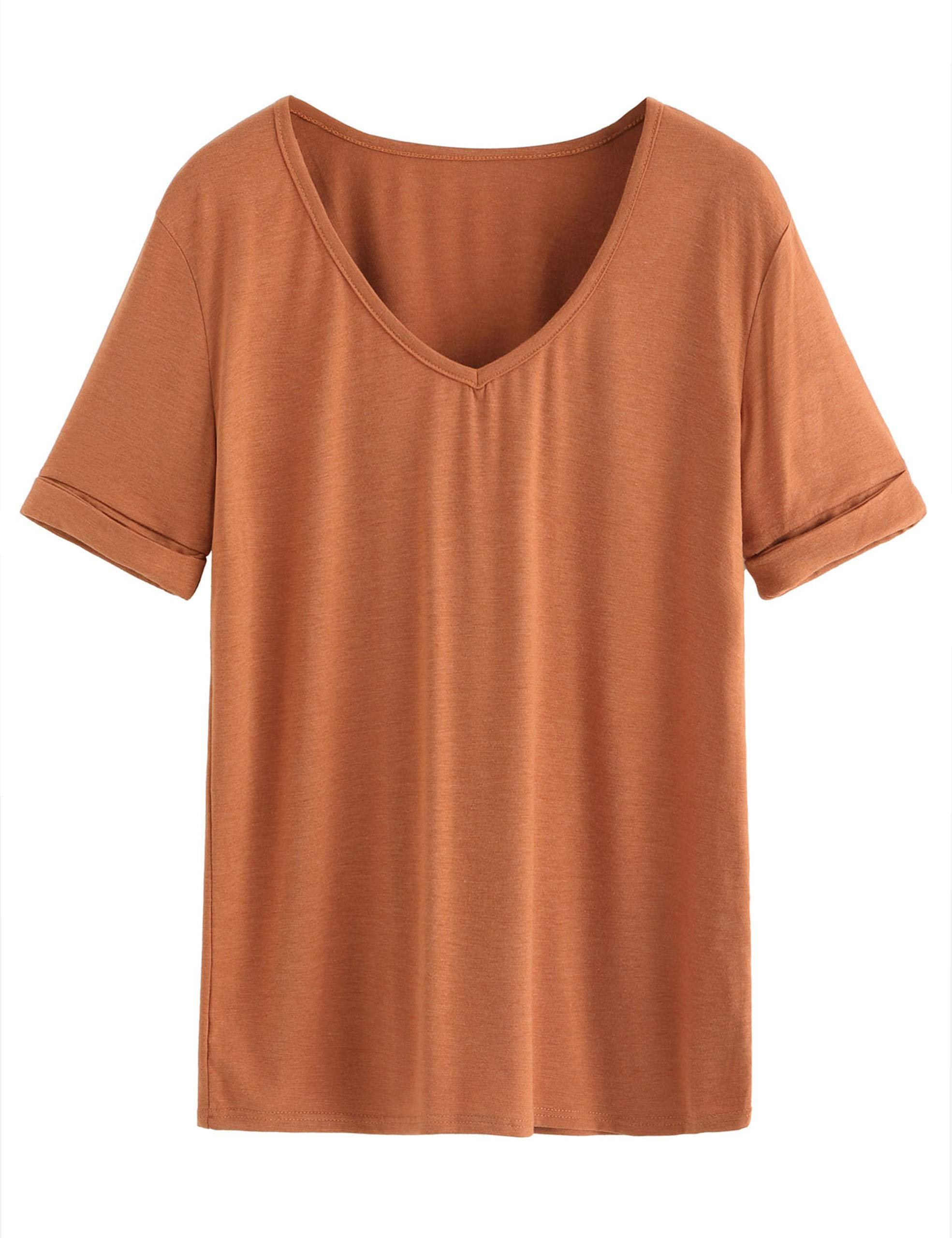 SheIn Women's Summer Short Sleeve Loose Casual Tee T-Shirt Brown Small