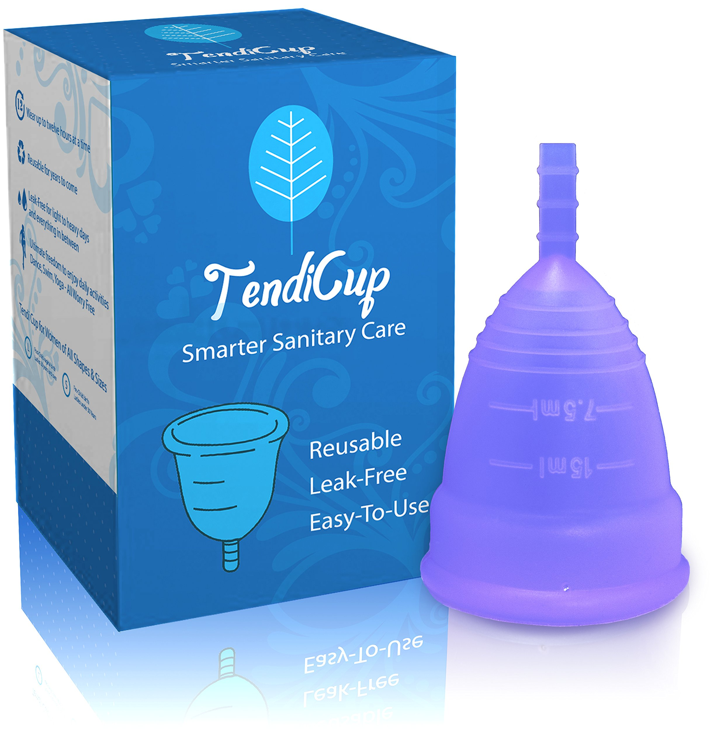 TendiCup Soft Reusable Menstrual Cup – Comfortable Medical Grade Silicone – Free Bonus Discreet Carrying Bag – Eco Friendly Pad and Tampon Alternative (Light Purple, Large)