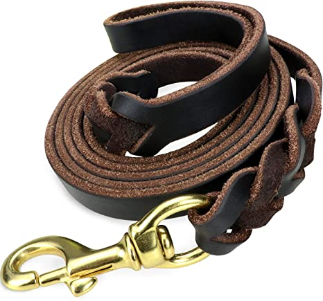 Brown Braided Leather Dog Harness