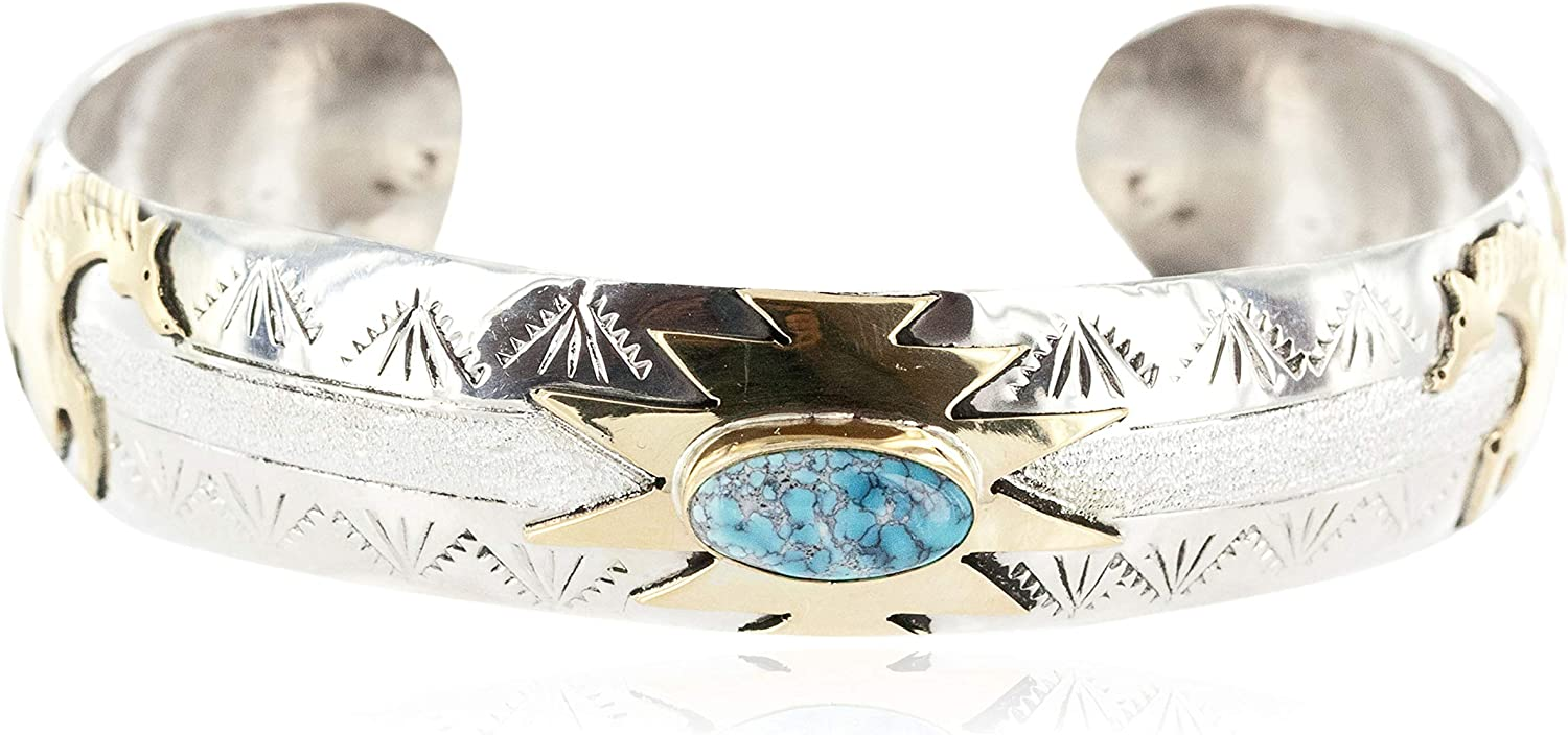 $510Tag 12Ktgf Silver Certified Horse Navajo Turquoise Native Bracelet 12969-4 gemacht durch Loma Siiva
