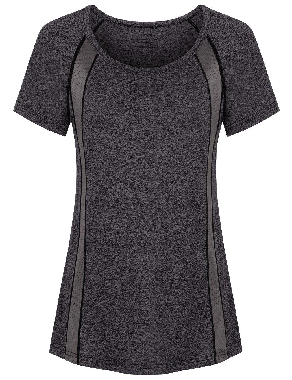 Faddare Raglan Shirt Women,Ladies Scoop Neck Loose Fit Yoga Tops,Black L