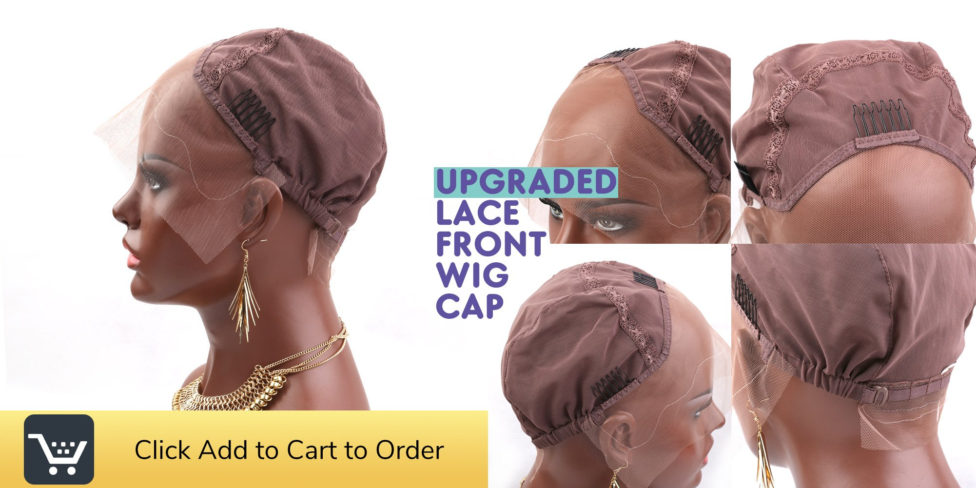 [Upgraded] Bella Hair Breathable Lace Front Wig Cap for DIY Making Wigs with Adjustable Straps and Combs, Light Brown Medium Size by Bella Hair (Image #7)