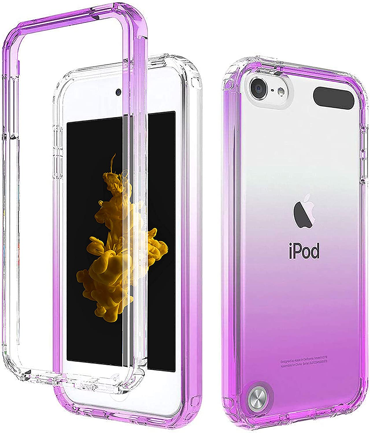 Purple iPod Touch Case with Built-In Screen Protector for 5, 6, and 7 Generation, Anti-Scratch and Shock-Resistant Cover for Apple iPod with Soft-Grip Bumper, Transparent and Slim Fit Protective Shell