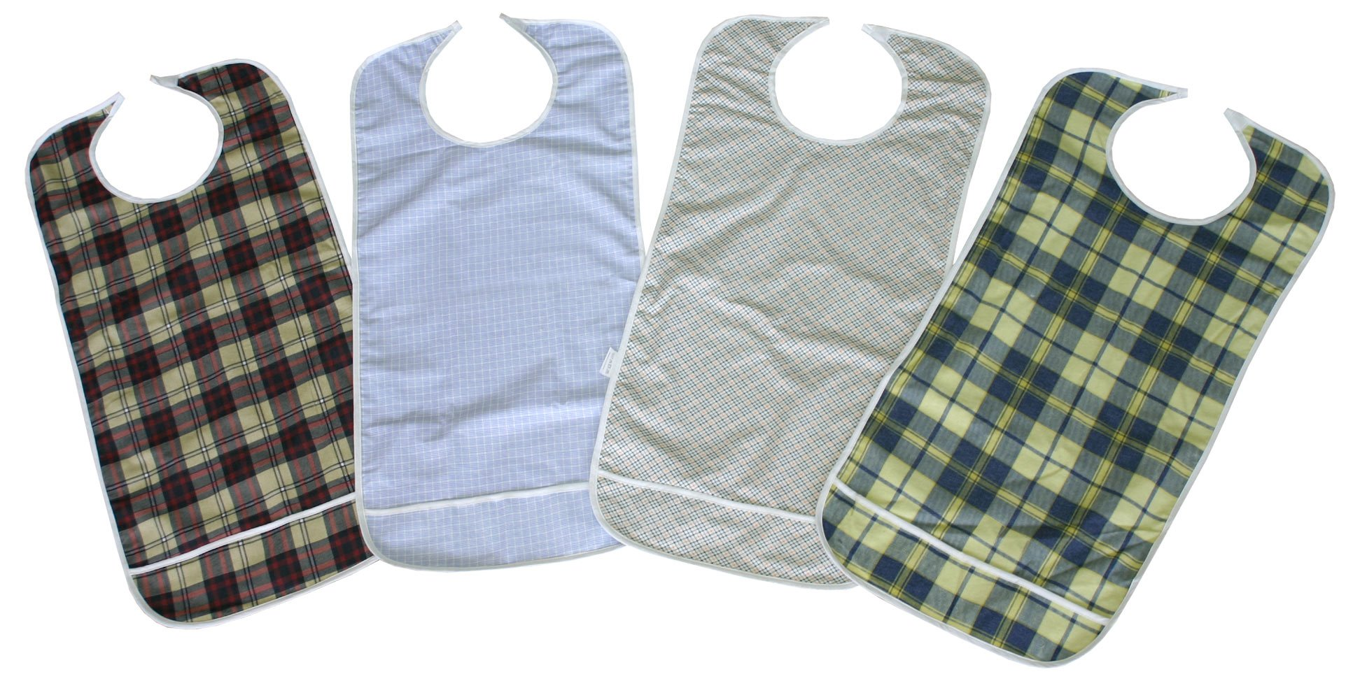 4 Pack Premium Adult Bibs with Crumb Catcher and Vinyl Backing