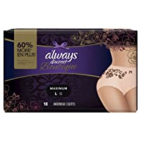 Always Discreet Boutique, Incontinence & Postpartum Underwear for Women, Maximum...