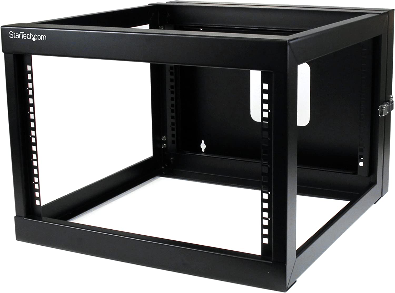 "StarTech.com 6U Hinged Open Frame Wall Mount Network Rack - 4-Post 22"" Depth Swing Out Computer Equipment Rack - 110lbs capacity (RK619WALLOH),Black"