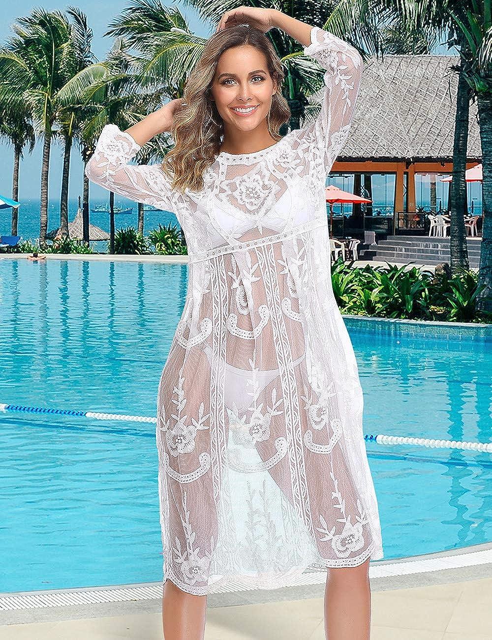comeondear Damen Strandkleid Sommer Spitzen Transparent Langarm Bikini Cover Up Gestrickte Sommerkleid Badeanzug Beachwear Wei/ß