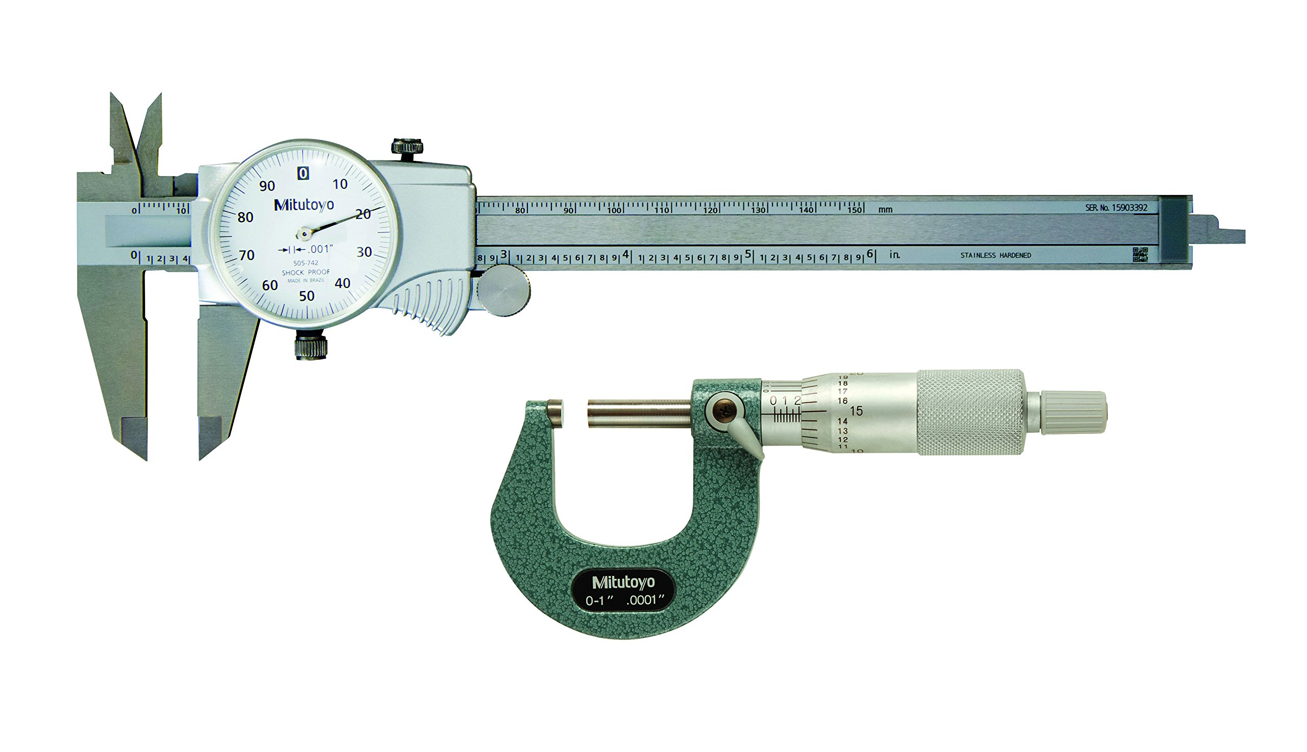 Mitutoyo 64PKA074B Tool Pkg, Mechanical with 6'' Dial Caliper, 1'' Outside MIC, Case  (Pack of 3) by Mitutoyo