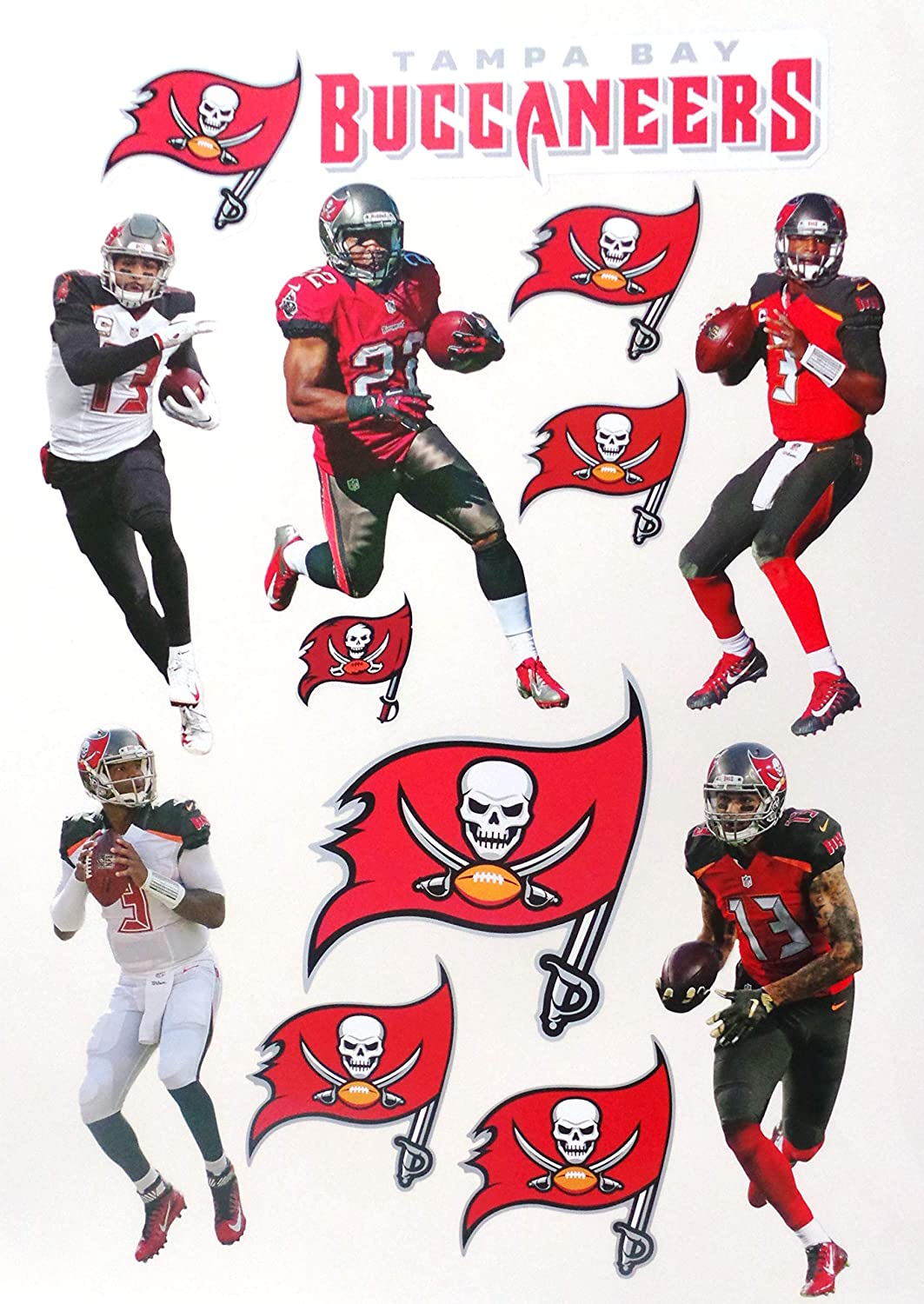 amazon com tampa bay buccaneers mini fathead team set 5 players bucs logo set official nfl vinyl wall graphics each player 7 inch arts crafts sewing bucs logo set official nfl vinyl wall