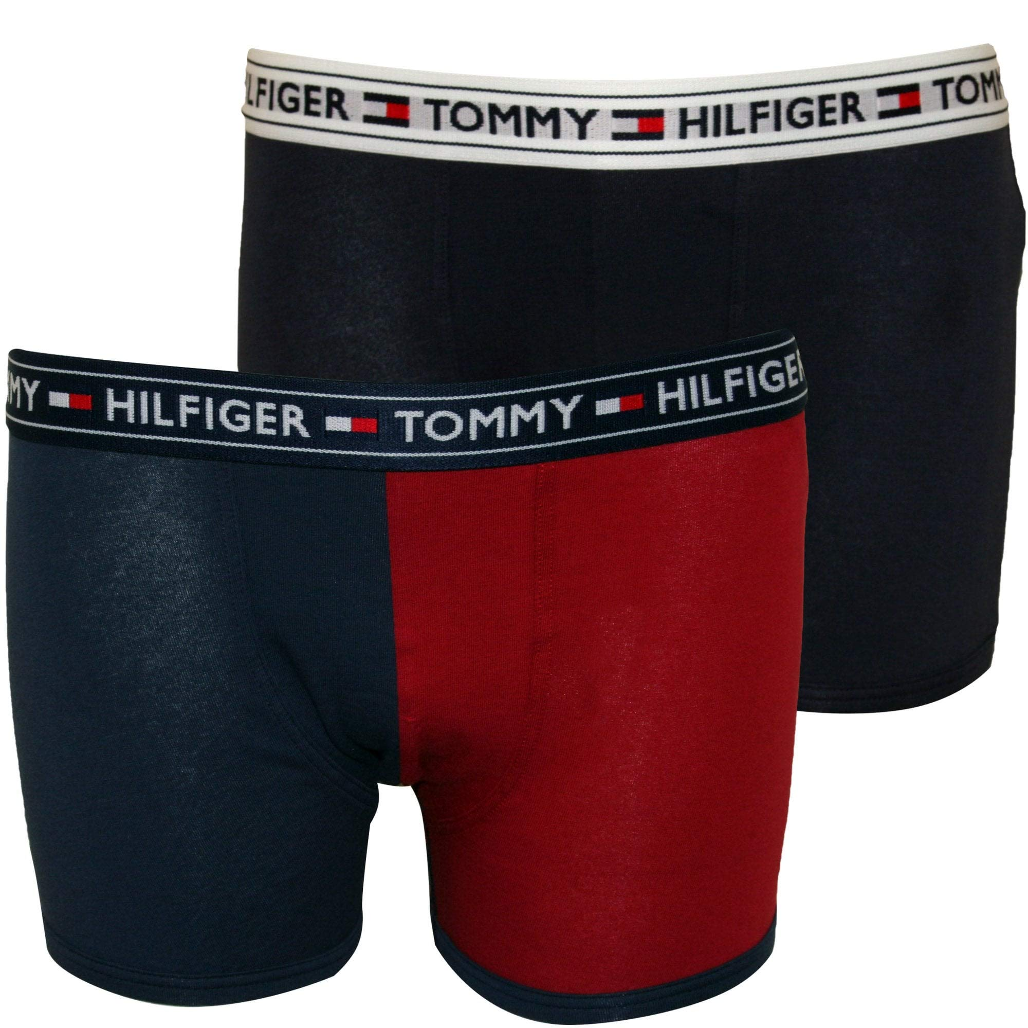 Tommy Hilfiger Boy's 2-Pack Colour Block Logo Boys Boxer Trunks, Red/Navy Age 6-7 Red/Navy