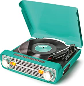 ION Audio Bronco LP-Vintage Turntable/Vinyl Record Player with Speakers, AM/FM Radio, USB and Aux inputs – Classic-Styled Teal Finish