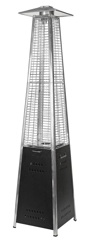 Estufa gas butano exterior pirámide -diseño moderno en color cromado - de acero inoxidable y tubo de cuarzo, ideal para terraza, bar, jardin, ...
