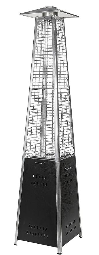 Estufa gas butano exterior pirámide –diseño moderno en color cromado - de acero inoxidable y