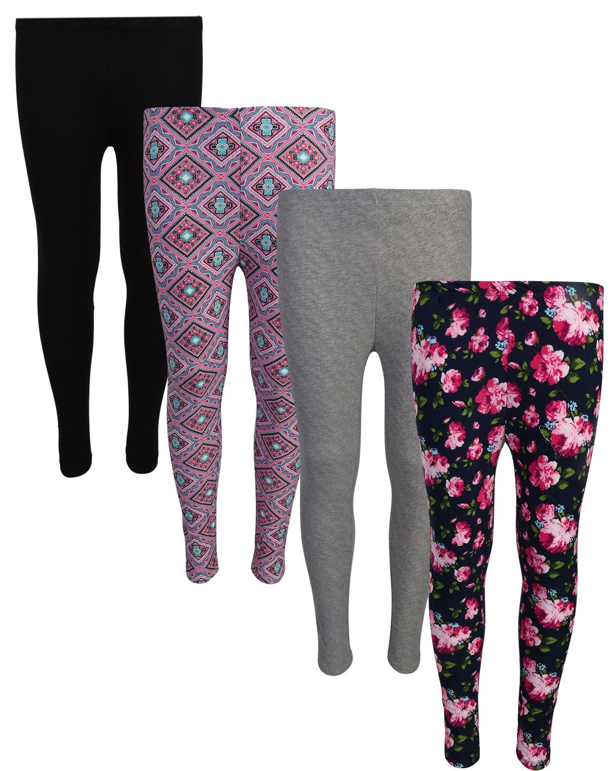 dELiA*s Delia's 4 Pack Girl's Basic Yummy Active Leggings, Navy Flower/Diamond, Size 10/12'