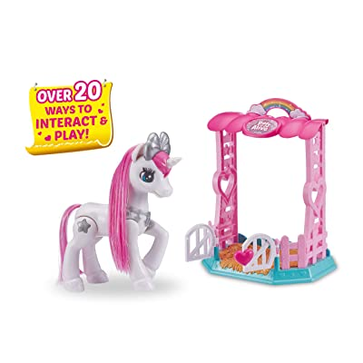 Pets Alive My Magical Unicorn in Stable Battery-Powered Interactive Robotic Toy Playset (White Unicorn) by Zuru: Toys & Games