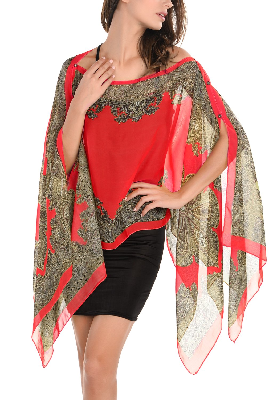 DJT Women's Floral Print Chiffon Beachwear Loose Fit Poncho Top Cover up DJT FASHION