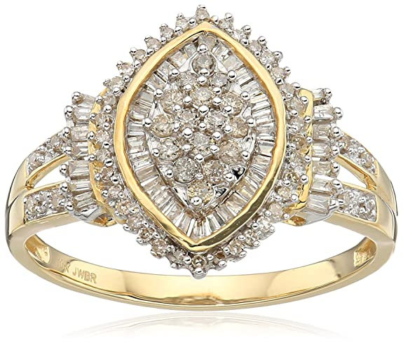 Review 10k Yellow Diamond Gold Cocktail Cluster Ring (1/2 cttw
