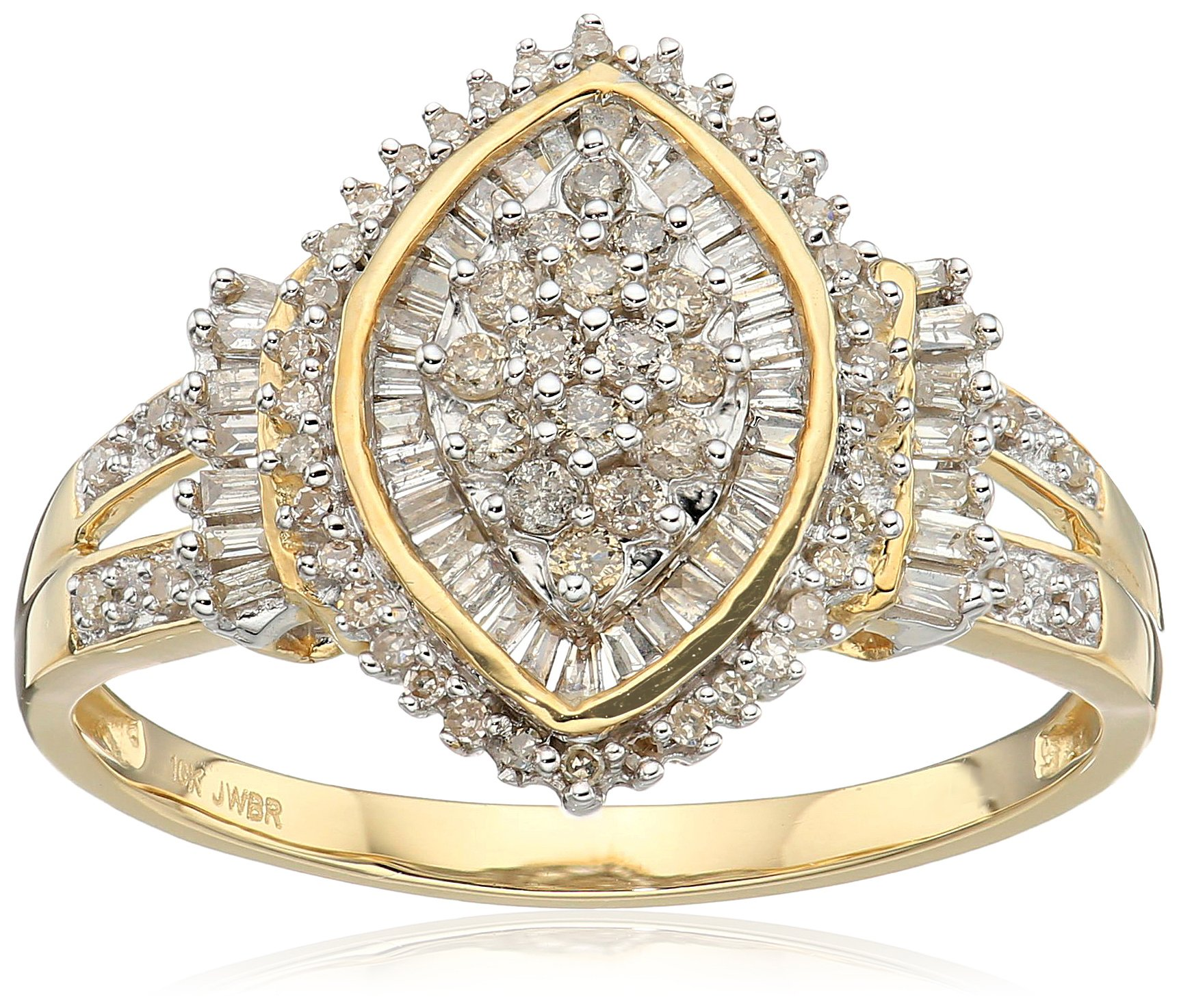 10k Yellow Gold Diamond Cocktail Cluster Ring (1/2 cttw), Size 8
