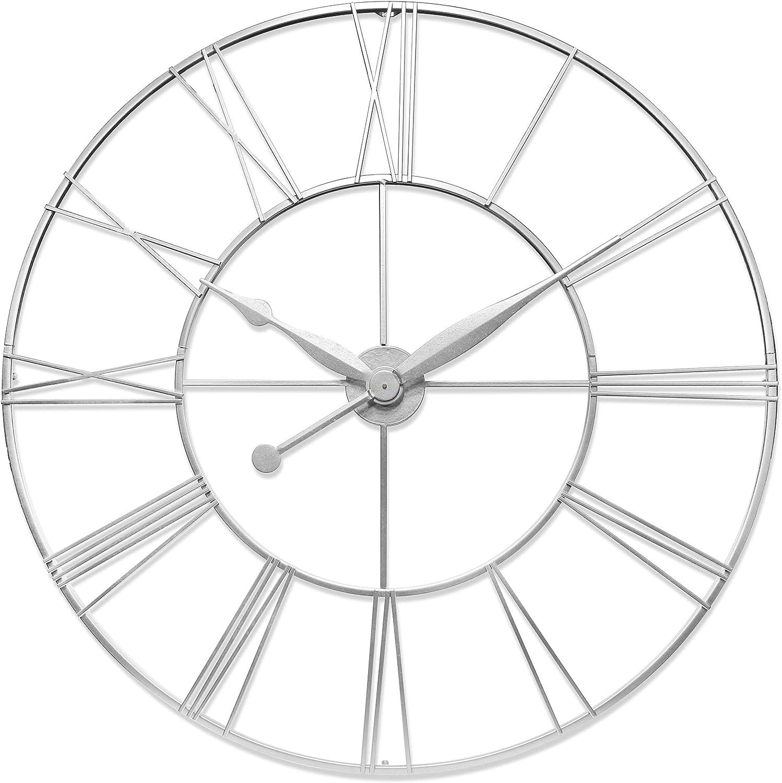 Infinity Instruments Skyscraper XXL Oversized Wall Clock Metal Roman Numeral Clock Numbers 45 inch Huge Wall Clock Open Face Wall Clock (Silver)